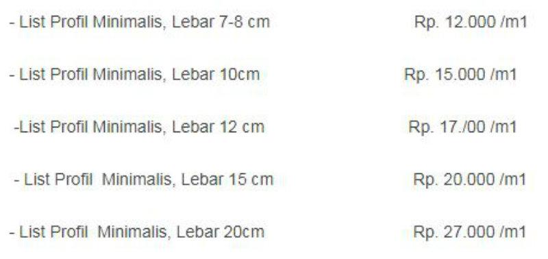 Harga List di Pasaran Indonesia