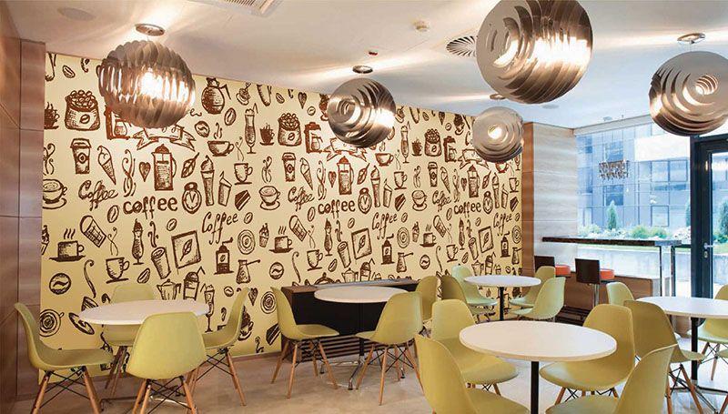 Motif Wallpaper di restoran
